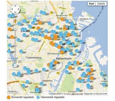 Localização dos parques infantis de Copenhague.