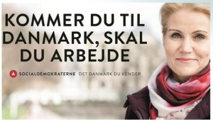 Cartaz dos sociais-democratas dinamarqueses, 2015.